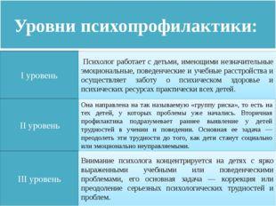 Уровни психопрофилактики: I уровень II уровень III уровень Психолог работае