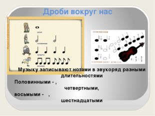 Дроби вокруг нас Музыку записывают нотами в звукоряд разными длительностями П