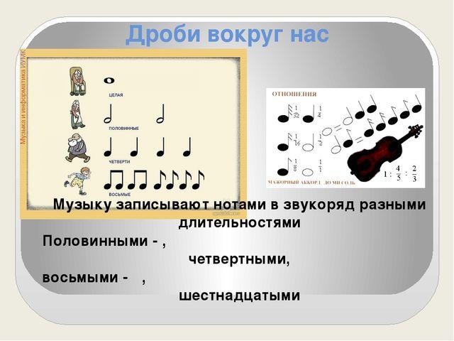 Дроби вокруг нас Музыку записывают нотами в звукоряд разными длительностями П...