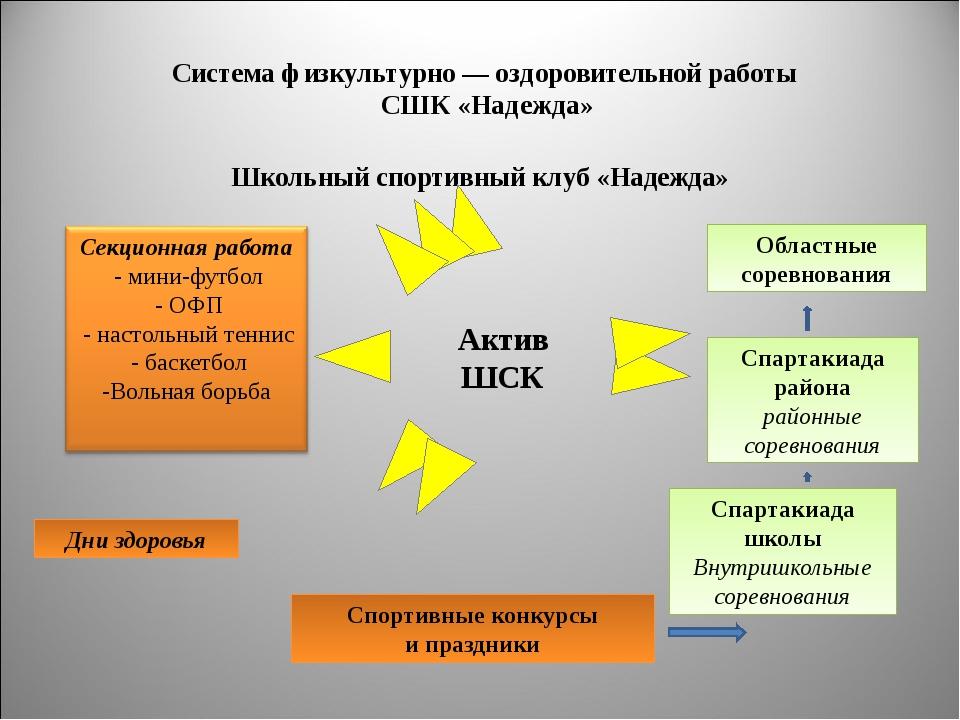 Система физкультурно — оздоровительной работы СШК «Надежда» Школьный спортивн...