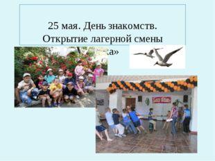 25 мая. День знакомств. Открытие лагерной смены «Чайка»