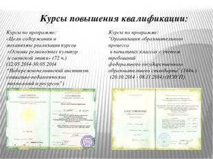 Курсы повышения квалификации: Курсы по программе: «Цели содержания и механизм