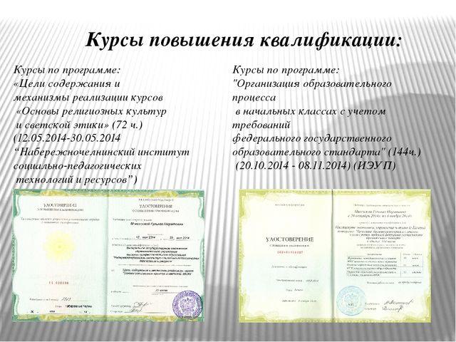 Курсы повышения квалификации: Курсы по программе: «Цели содержания и механизм...