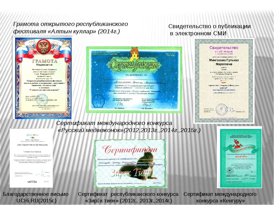 Сертификат международного конкурса «Русский медвежонок»(2012,2013г.,2014г.,20...
