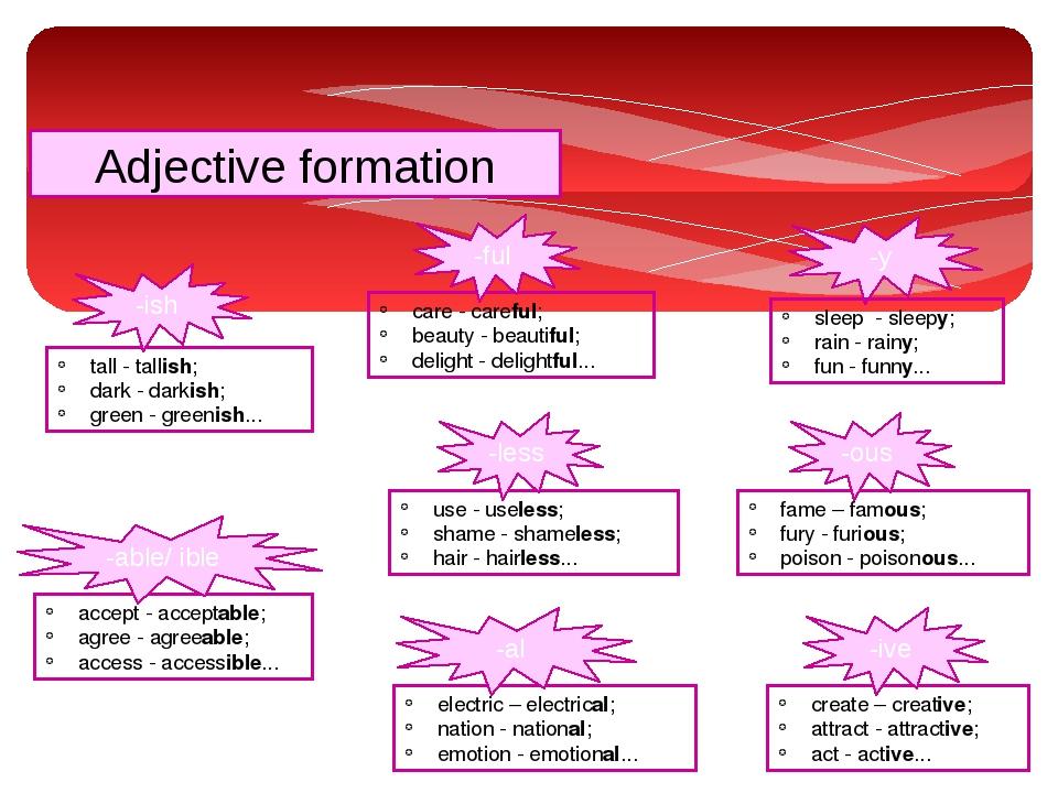 Adjective formation care - careful; beauty - beautiful; delight - delightful....