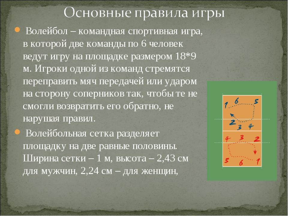 Волейбол – командная спортивная игра, в которой две команды по 6 человек вед...