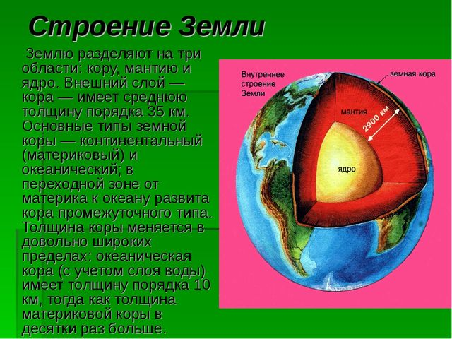 Строение Земли Землю разделяют на три области: кору, мантию и ядро. Внешний с...