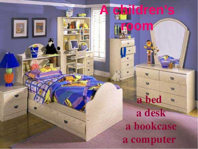 A children's room a bed a desk a bookcase a computer