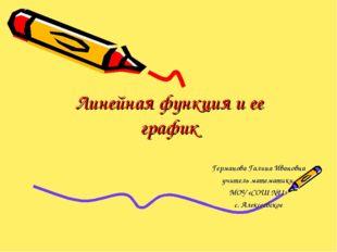 Линейная функция и ее график Германова Галина Ивановна учитель математики МОУ