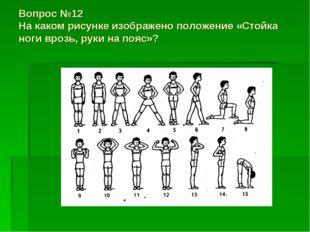 Вопрос №12 На каком рисунке изображено положение «Стойка ноги врозь, руки на