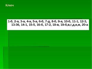 Ключ 1-б, 2-а, 3-а, 4-а, 5-а, 6-б, 7-д, 8-б, 9-а, 10-б, 11-1, 12-3, 13-36, 14