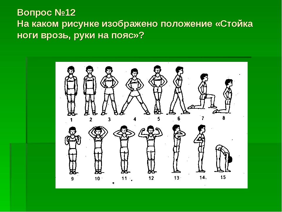 Вопрос №12 На каком рисунке изображено положение «Стойка ноги врозь, руки на...