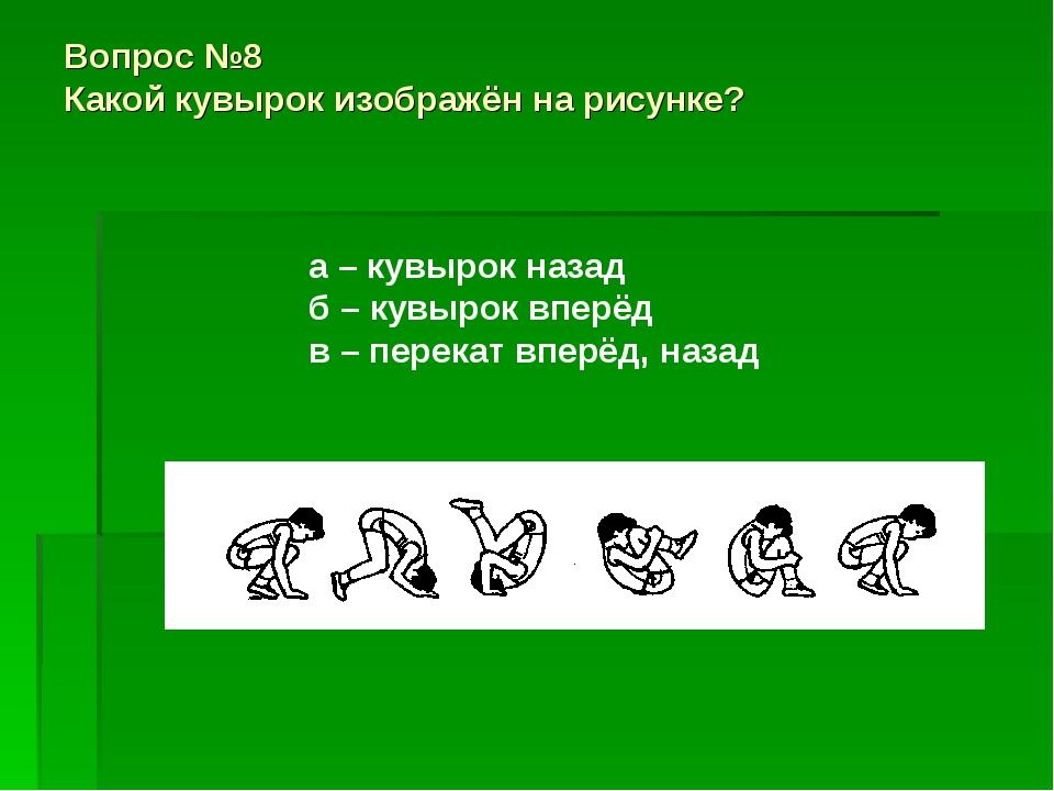 Вопрос №8 Какой кувырок изображён на рисунке? а – кувырок назад б – кувырок в...