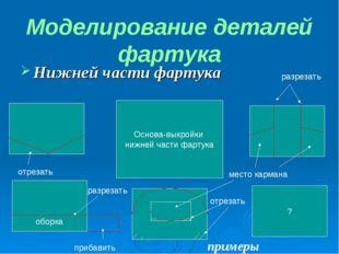 Нижней части фартука Моделирование деталей фартука Основа-выкройки нижней час