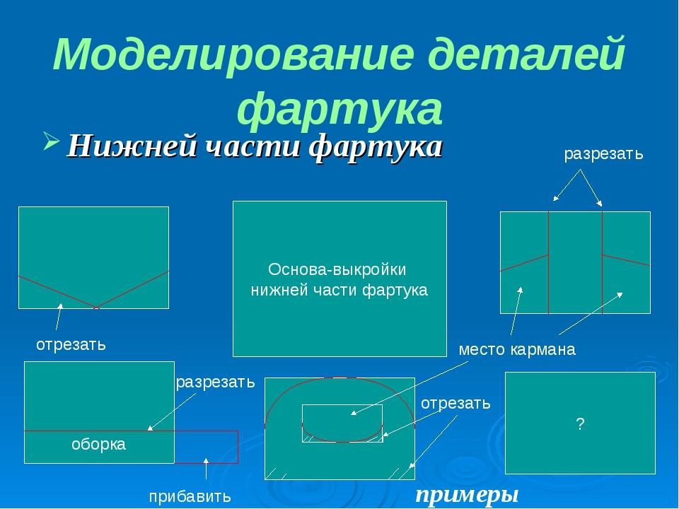 Нижней части фартука Моделирование деталей фартука Основа-выкройки нижней час...