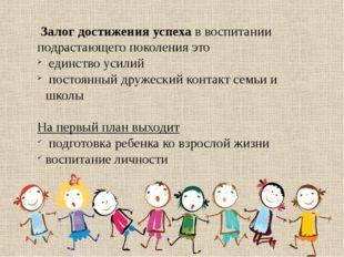 Залог достижения успеха в воспитании подрастающего поколения это единство ус