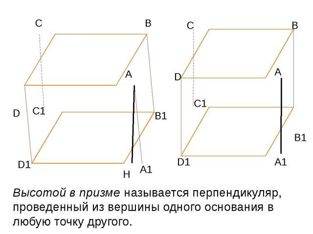 А В С D Н А1 В1 С1 D1 А В С D А1 В1 С1 D1 Высотой в призме называется перпен...
