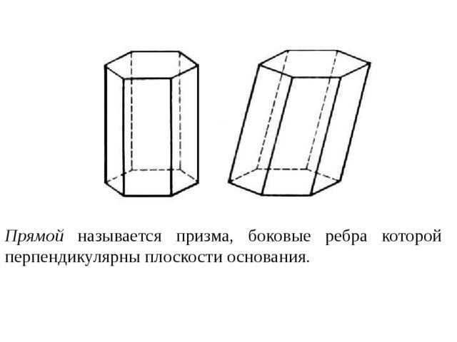 Прямой называется призма, боковые ребра которой перпендикулярны плоскости осн...