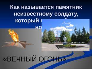 Как называется памятник неизвестному солдату, который горит днём и ночью? «ВЕ