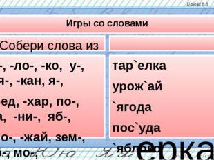 Игры со словами Собери слова из слогов та-, -ло-, -ко, у-, -ля-, -кан, я-, -б