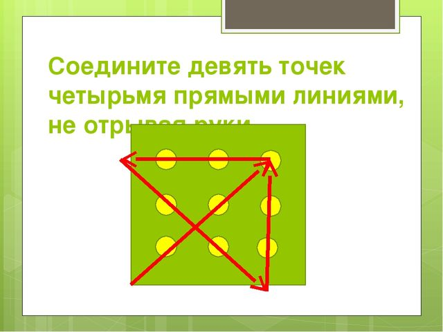 Соедините девять точек четырьмя прямыми линиями, не отрывая руки.