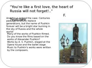 """""""You're like a first love, the heart of Russia will not forget!.."""" F. Tyutch"""