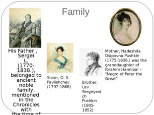 Family His Father , Sergei L. (1770-1838.), belonged to ancient noble family