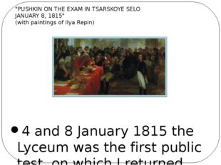 4 and 8 January 1815 the Lyceum was the first public test, on which I return