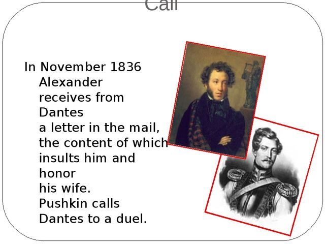 In November 1836 Alexander receives from Dantes a letter in the mail, the con...
