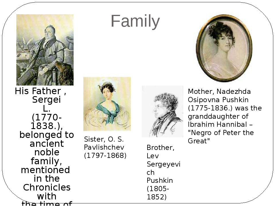 Family His Father , Sergei L. (1770-1838.), belonged to ancient noble family...