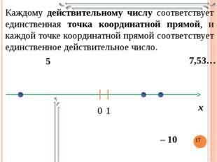Каждому действительному числу соответствует единственная точка координатной п