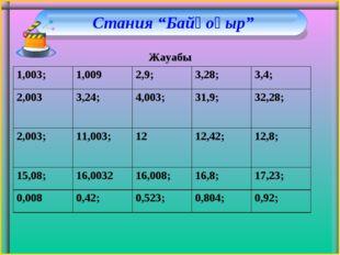 """Стания """"Байқоңыр"""" Жауабы 1,003; 1,0092,9; 3,28; 3,4; 2,0033,24; 4,003;"""