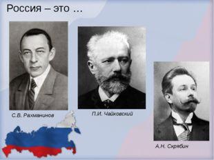 Россия – это … П.И. Чайковский С.В. Рахманинов А.Н. Скрябин