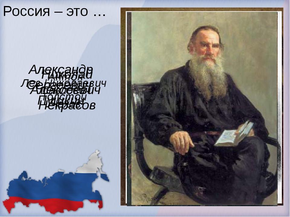 Россия – это … Александр Сергеевич Пушкин Николай Алексеевич Некрасов Антон П...