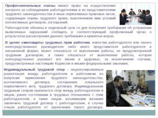 Профессиональные союзы имеют право на осуществление контроля за соблюдением р