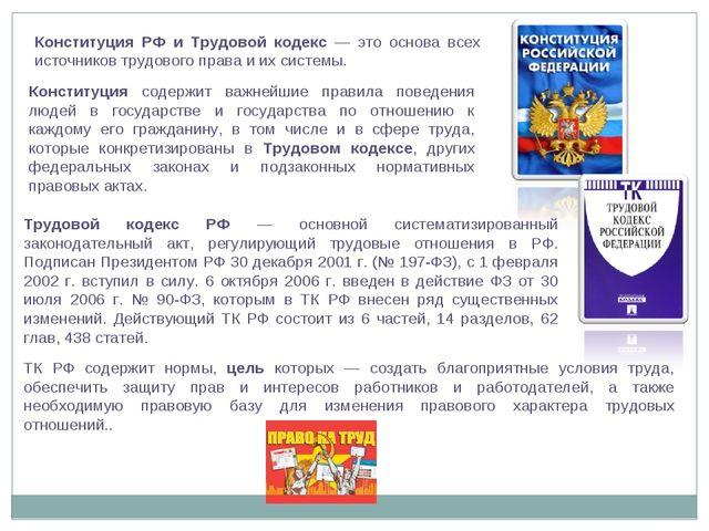 Конституция РФ и Трудовой кодекс — это основа всех источников трудового права...
