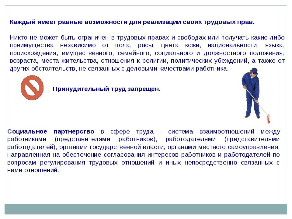 Каждый имеет равные возможности для реализации своих трудовых прав. Никто не...