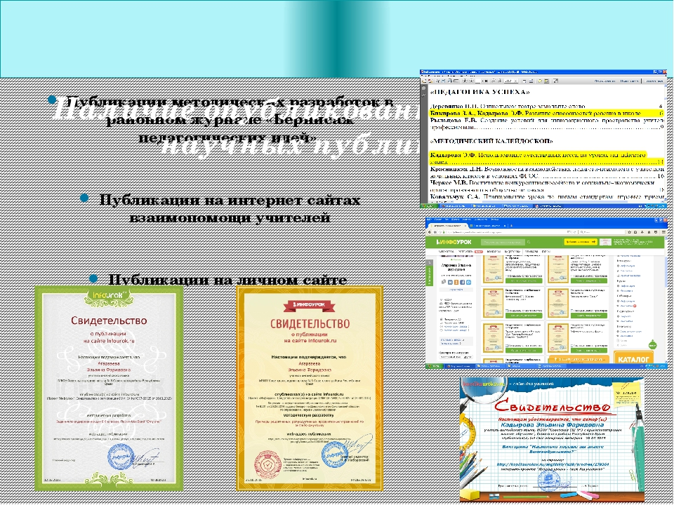 Публикации методических разработок в районном журнале «Вернисаж педагогически...