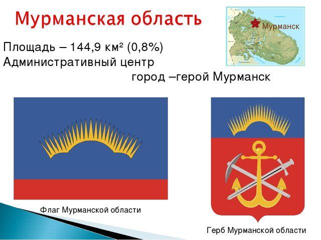 Площадь – 144,9 км² (0,8%) Административный центр город –герой Мурманск Ф...