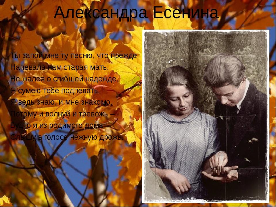 Александра Есенина Ты запой мне ту песню, что прежде Напевала нам старая мать...