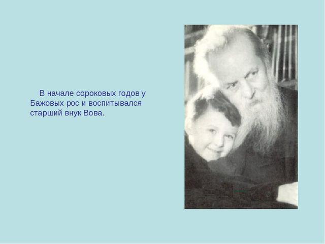 В начале сороковых годов у Бажовых рос и воспитывался старший внук Вова.