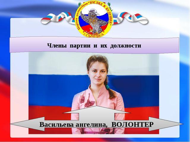 Члены партии и их должности Васильева ангелина, ВОЛОНТЕР