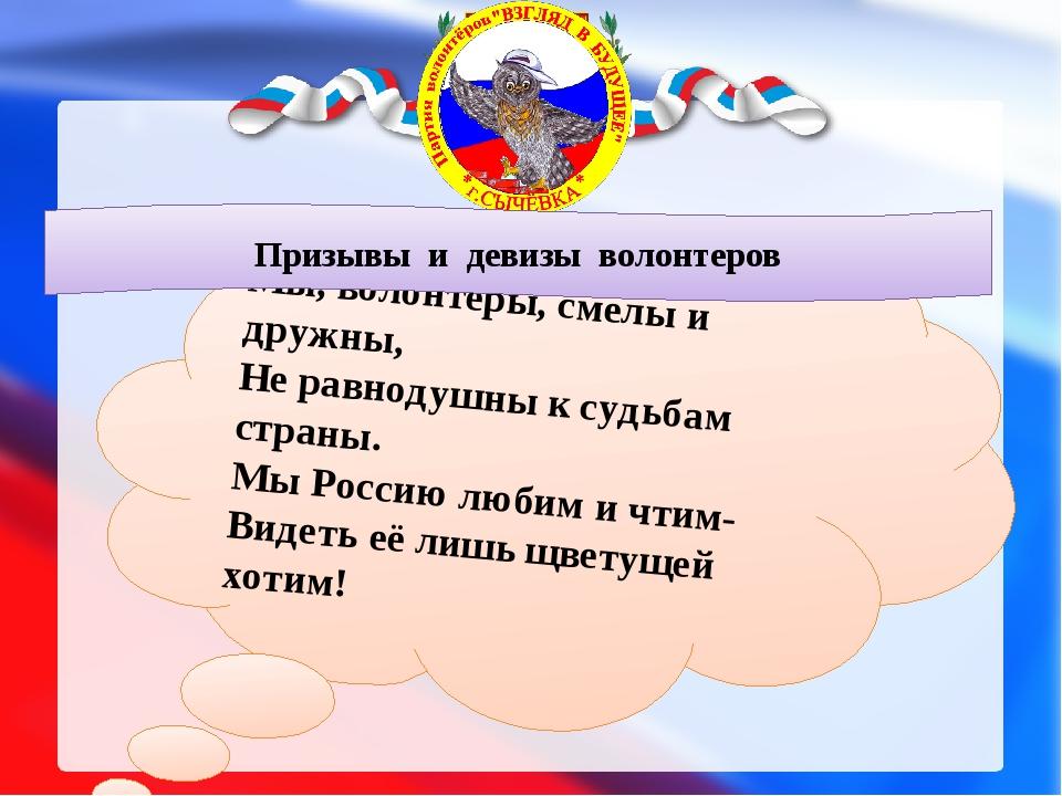 Мы, волонтёры, смелы и дружны, Не равнодушны к судьбам страны. Мы Россию лю...