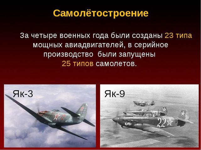 Самолётостроение За четыре военных года были созданы 23 типа мощных авиадвига...