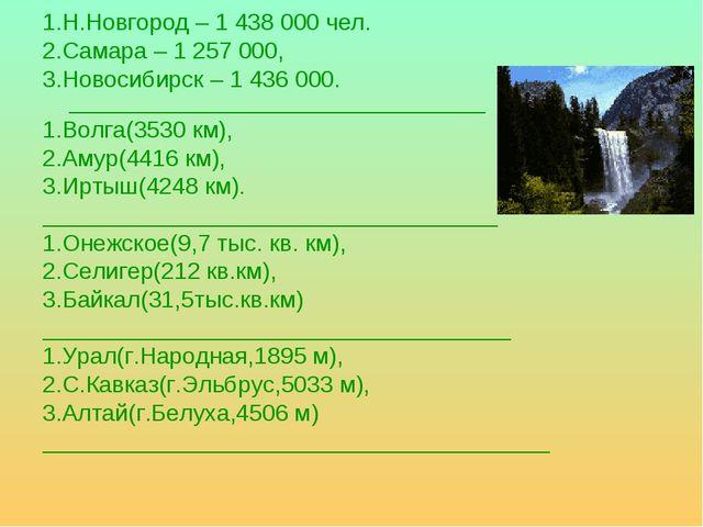 1.Н.Новгород – 1 438 000 чел. 2.Самара – 1 257 000, 3.Новосибирск – 1 436 000...