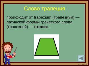 Слово трапеция происходит от trapezium (трапезиум) — латинской формы греческо