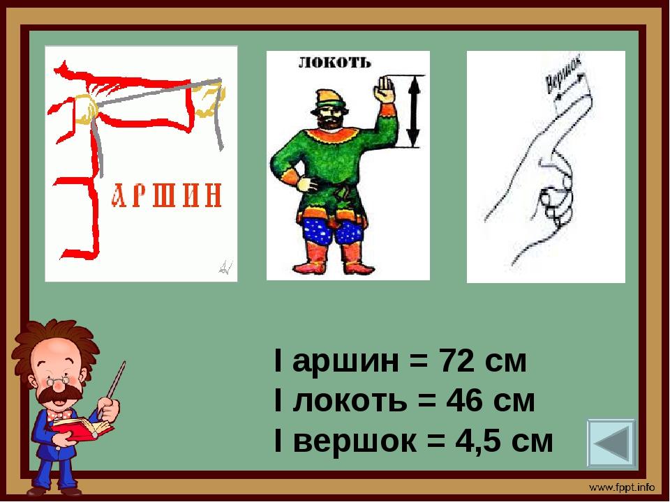 I аршин = 72 см I локоть = 46 см I вершок = 4,5 см