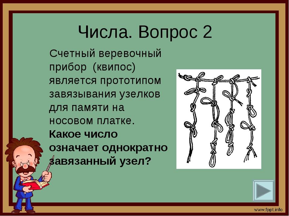 Числа. Вопрос 2 Счетный веревочный прибор (квипос) является прототипом завязы...
