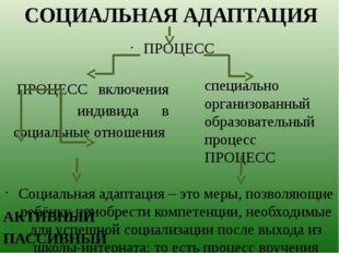 ПРОЦЕСС включения индивида в социальные отношения АКТИВНЫЙ ПАССИВНЫЙ СОЦИАЛЬН