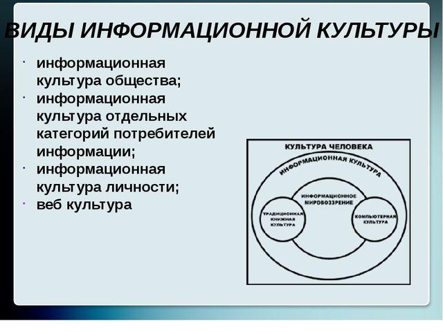 информационная культура общества; информационная культура отдельных категорий...